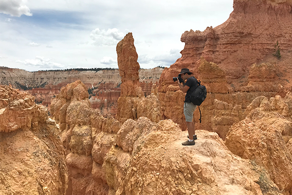 Josh Schaulis of Wildsight Photography taking photos in Bryce Canyon National Park, Utah.